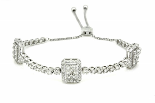 2 1 4 Ctw Diamond Bolo Bracelet 14kt White Gold Haddad Jewelers