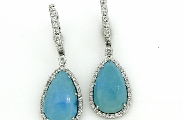Turquoise Diamond Earrings 18kt White Gold Haddad Jewelers